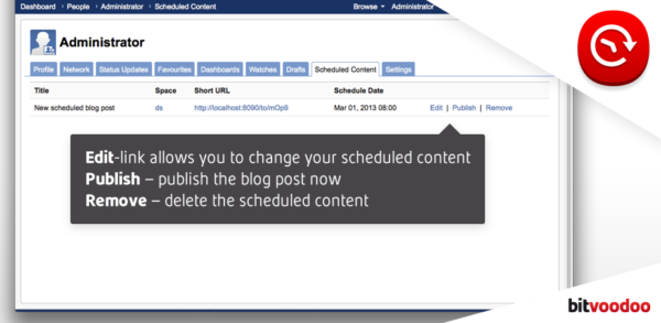 Confluence Content Scheduler Screenshot #3