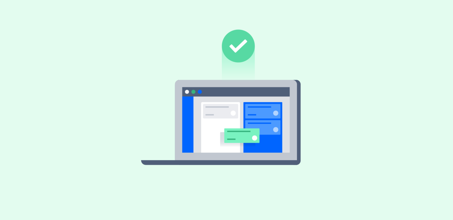 Illustration of a laptop with Jira showing a completed task.