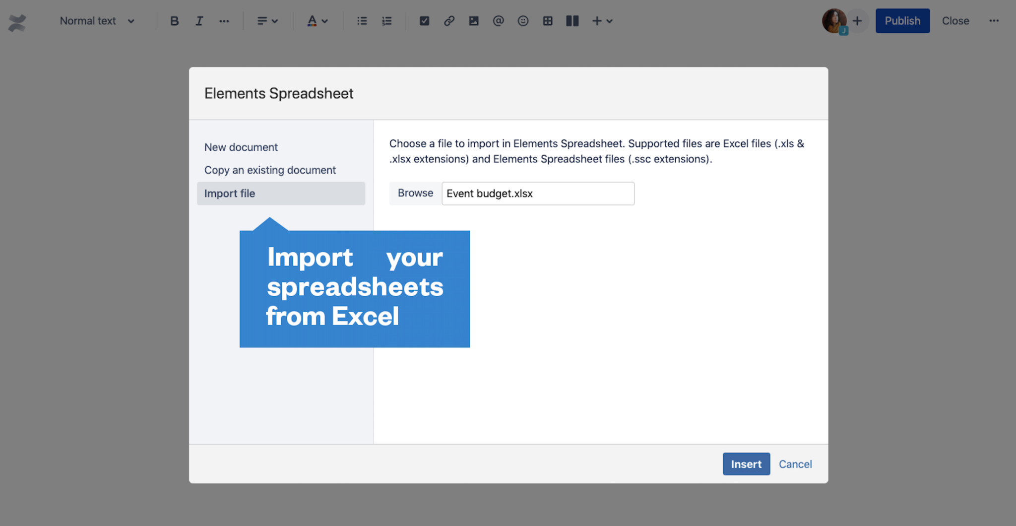 Spreadsheets for Confluence