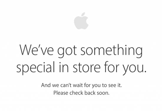 """Apple logo with caption """"We've got something special in store for you. And we can't wait for you to see it. Please check back soon."""". Screen capture."""