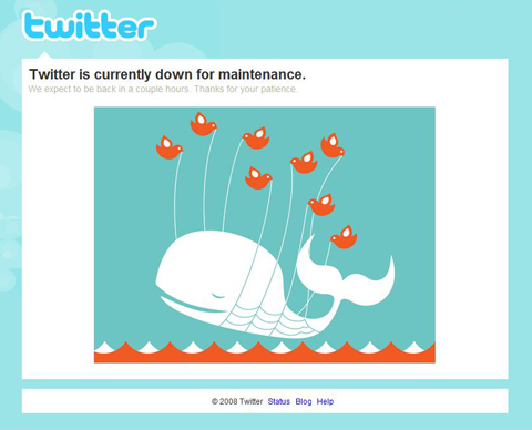 """Twitter's maintenance page with message """"Twitter is currently down for maintenance. We expect to be back in a couple hours. Thanks for your patience"""" and digital image of a whale being lifted out of water. Screen capture."""