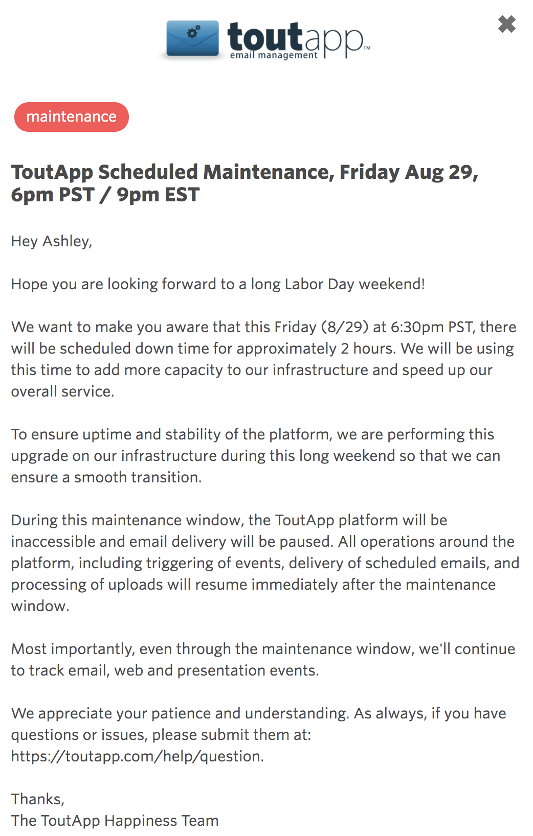 example of a detailed maintenance message from tout app