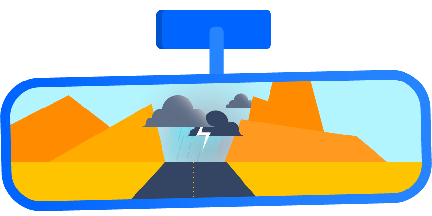 A rearview mirror illustration with a thunderstorm reflected in it.
