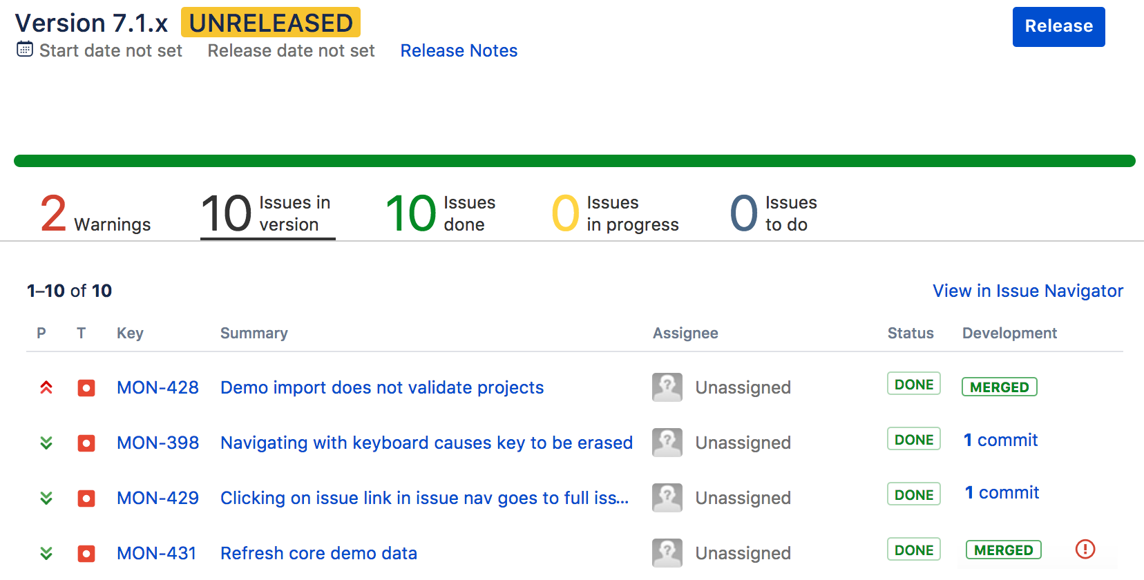 Release info in Jira Software