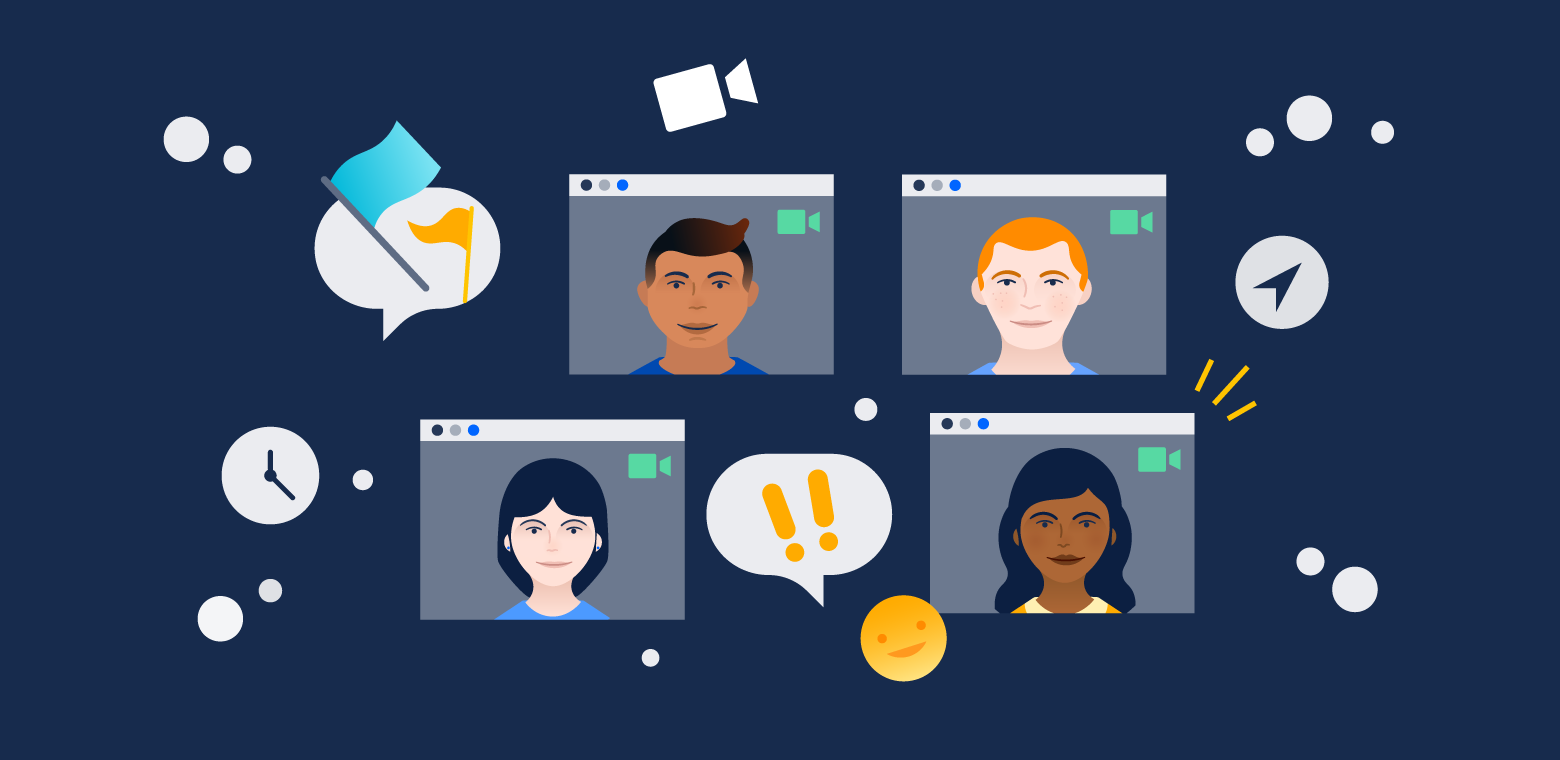 Illustration of several people in video chat windows