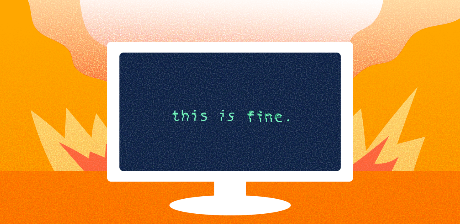 Illustration of computer monitor with black screen and text saying this is fine