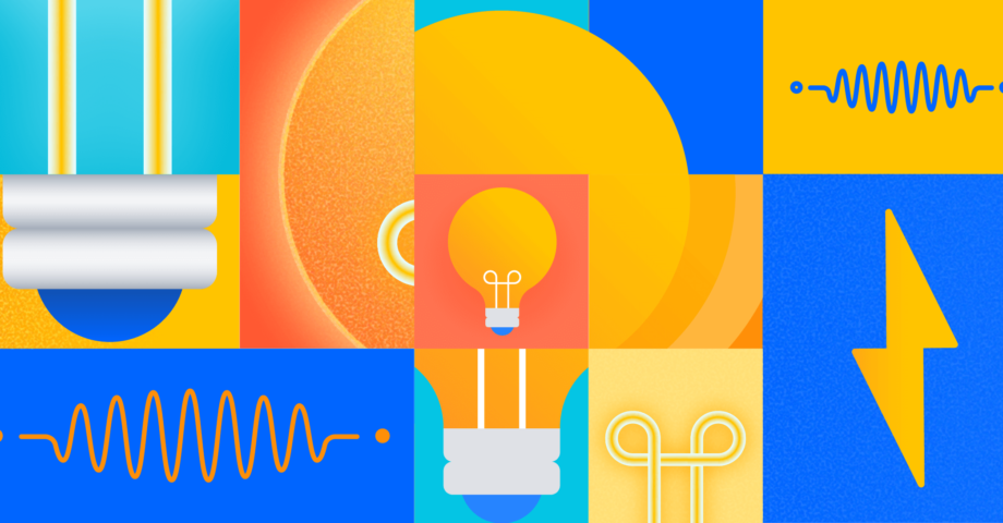 cubist-style illustration of lightbulbs and wires