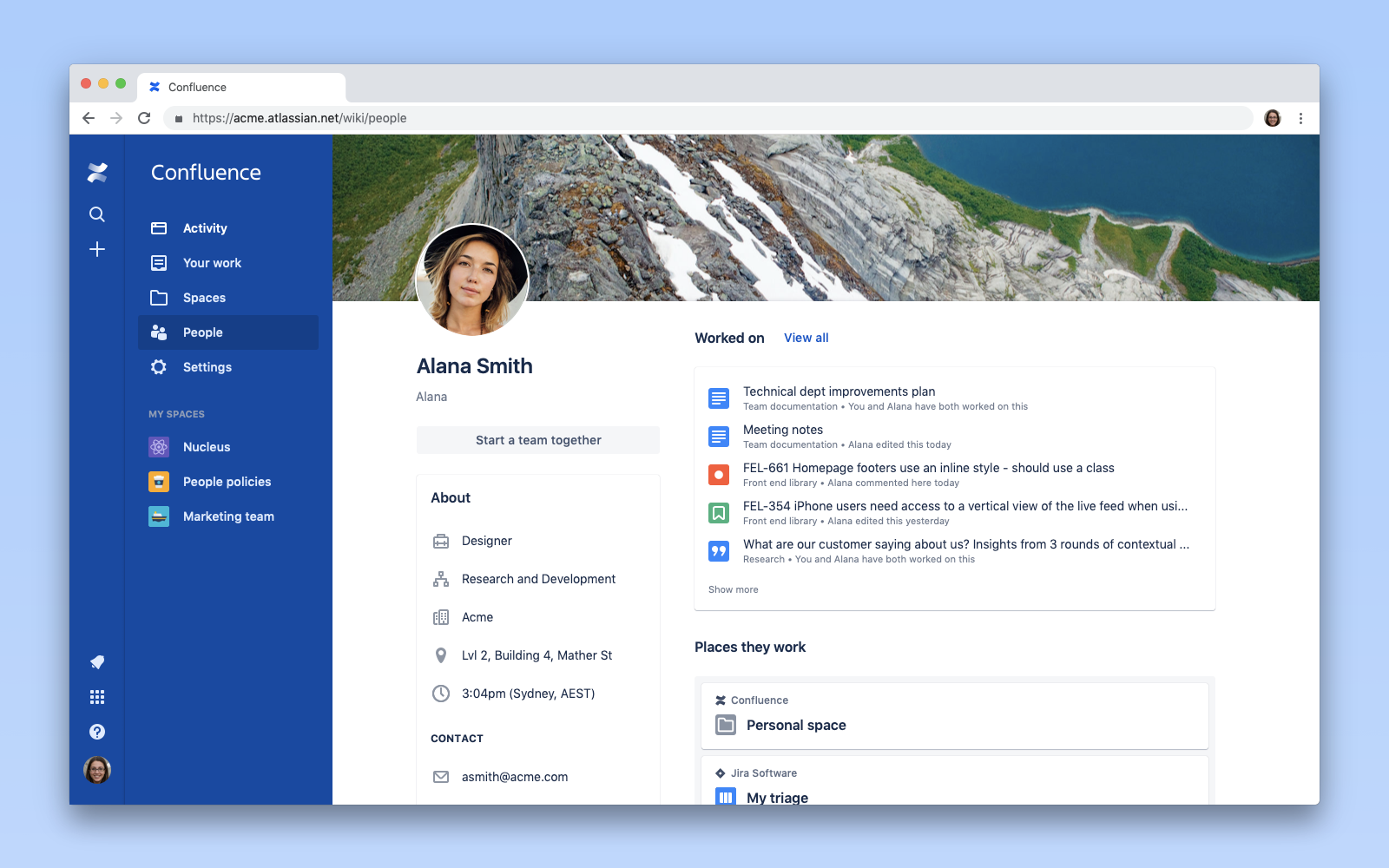 screenshot of people profile in confluence