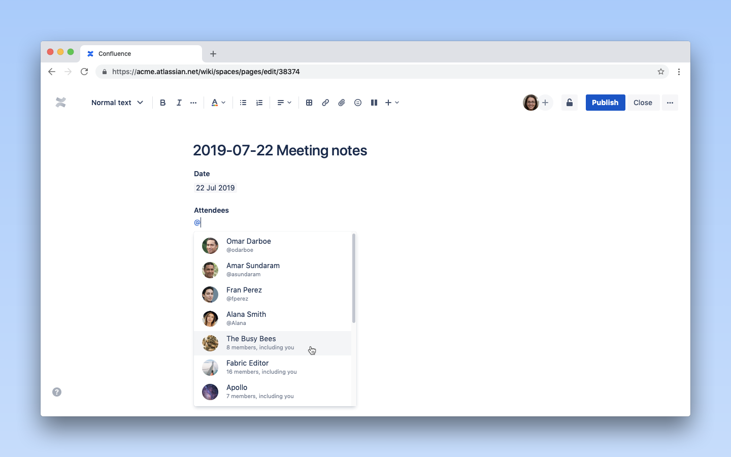 screenshot: adding a team to a confluence page