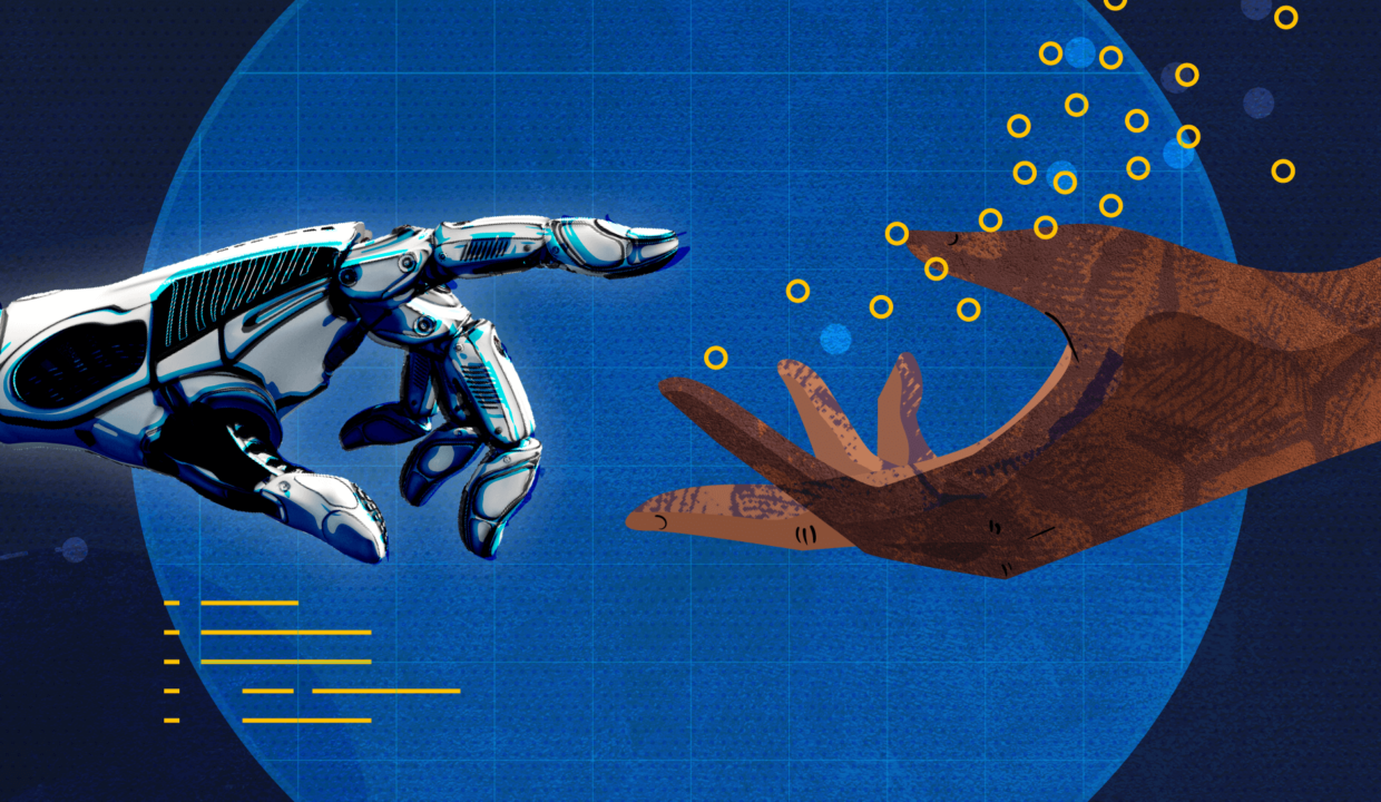 an illustration of robot and human hands