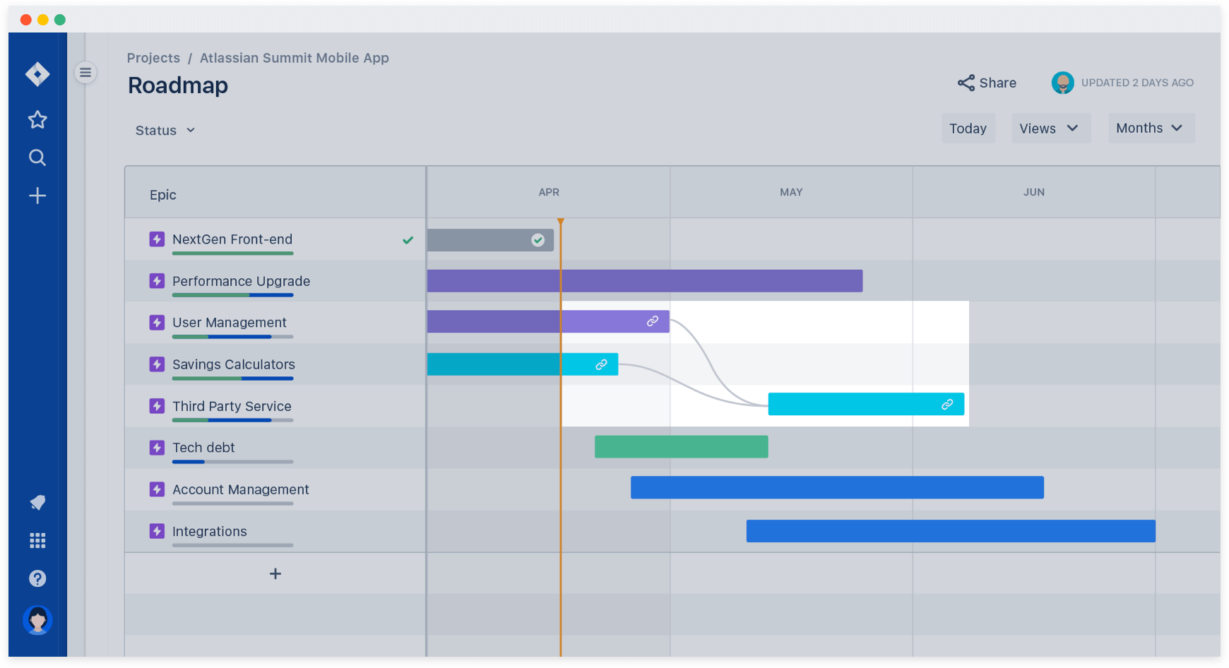 Jira roadmap dependency mapping