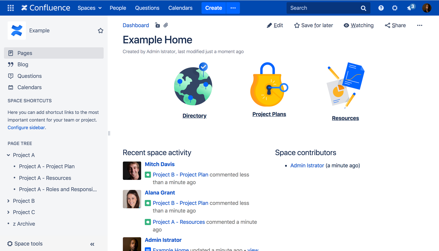 example Space in Confluence