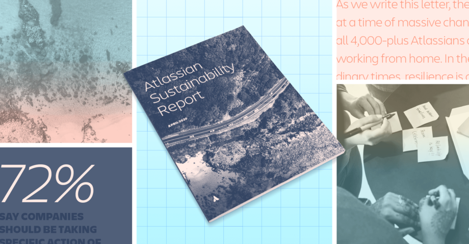 Collage image that includes the cover of a sustainability report, ocean waves, and people working