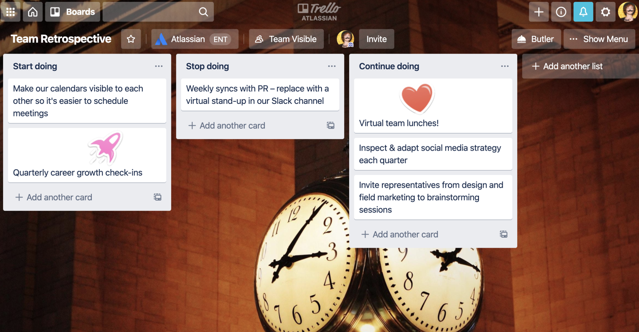 Example of a Trello board with lists for things to stop, start, and continue doing