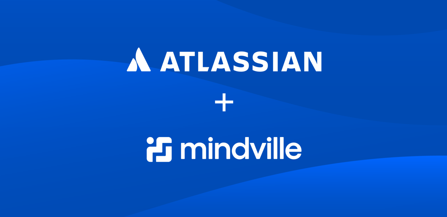 Atlassian and Mindville logos on a blue background