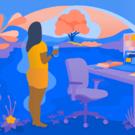 illustration of a woman looking out a window from her desk