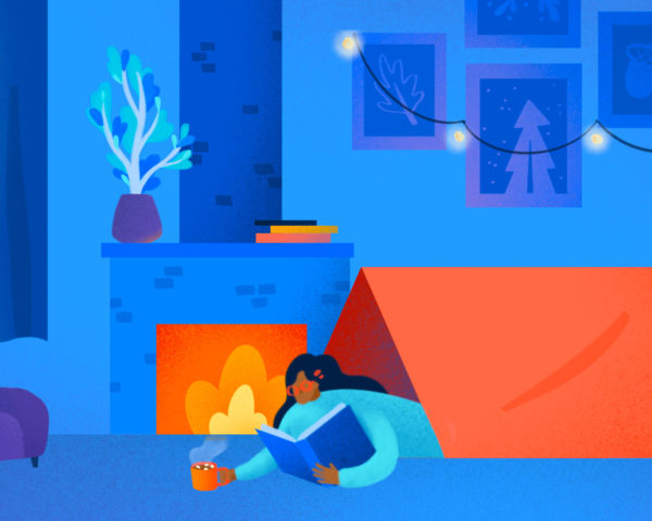 illustration of a person on staycation camping in their living room