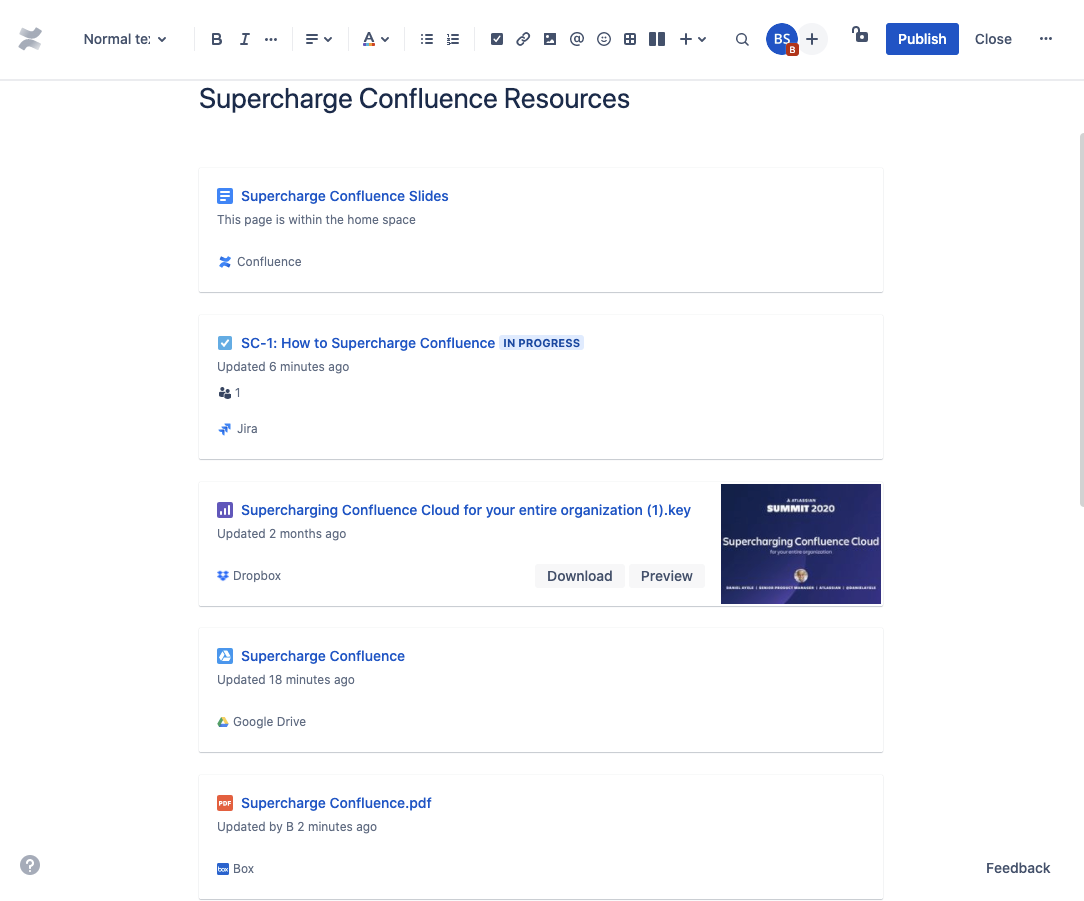 Smart links in Confluence