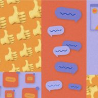 "Abstract illustration including ""thumbs-up"" emojis and people appearing on a video call."