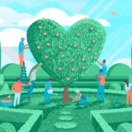 Illustration of people working together to create a heart-shaped topiary tree in a garden setting.