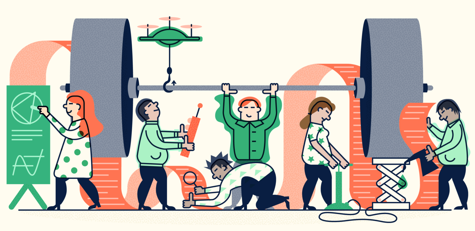 Illustration of a group of people working together to lift a heavy weight