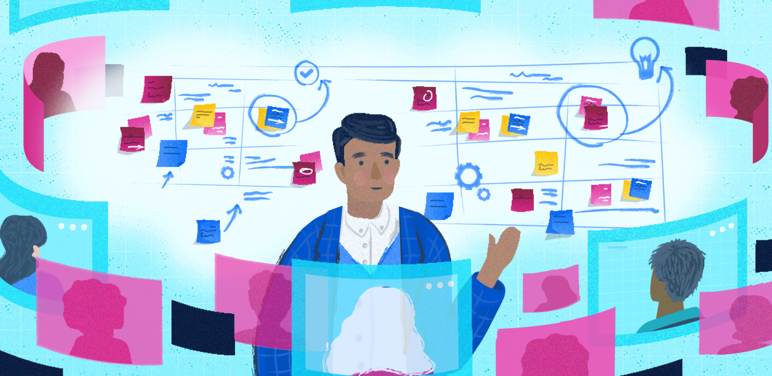 Illustration of a man teaching others about scaled agile via video call