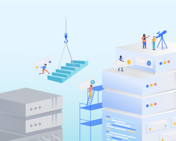 illustration of people creating building blocks from one area to another