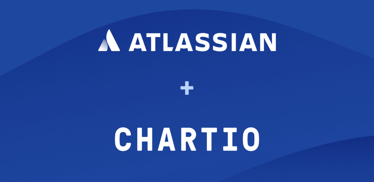 Atlassian and Chartio ogos on a blue background