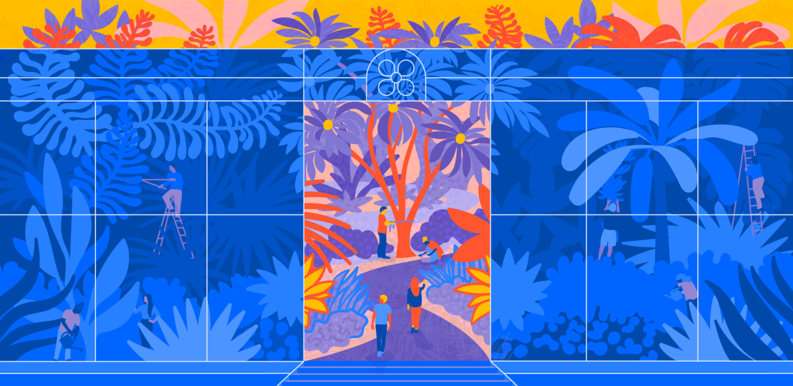 Illustration of two people entering a conservatory garden