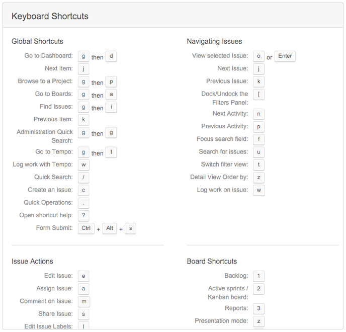 Jira Software_keyboard shortcuts list