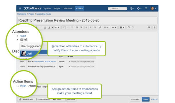 Confluence Team Collaboration Software Meeting Notes Editor