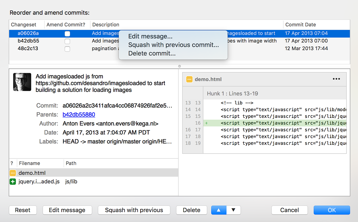Screenshot showing reorder and amend commits options