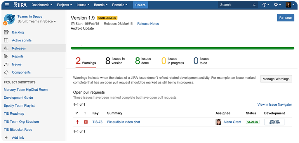 Release hub combines data from Jira Software and Bitbucket